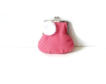Clutch purse, small pink and white handbag for girls, tweens, or women, Easter purse,