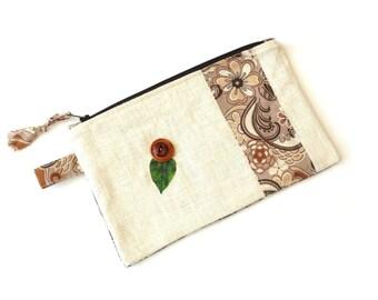 Cosmetic bag zipper pouch, beige brown color block, linen clutch bag, pencil case, makeup case, slim bag