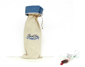Wine gift bag, Thank You gift, wine sleeve, wine carrier, linen wine bag, recycled denim jeans, wine bottle bag