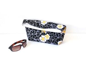 Fold over clutch purse, black yellow, clutch bag, summer purse, handbag, pocketbook, everyday bag, cosmetic bag