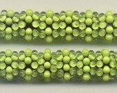 Reserved for Jennifer B., Tom's lampwork glowing lime urchins disc beads,  2 bead set, 1 pair,  95852