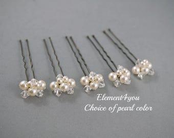 Bridal hair pins, Pearls crystals cluster U pins, Wedding hair pins, Set of 5, Ivory white crystal pins, Bridal party gift, Formal hair do