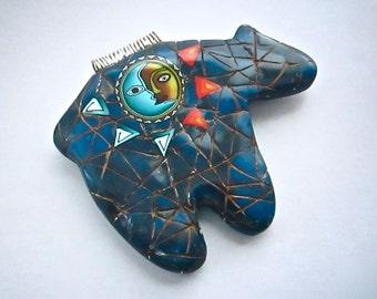 Bear Pendant, Lapis Pendant, Native American, Polymer Clay, Primitive Necklace, Bear Fetish, Custom Jewelry, Wearable Art
