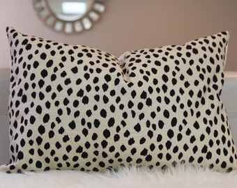Made-to-order Spots on cream Pillow Cover various sizes, polka dots pillow, Dalmatian print pillow, Spots pillow cover, upholstery fabric