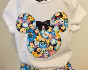 Disney's TsumTsum twirly skirt & shirt set perfect for Disney, birthday parties, and photo ops