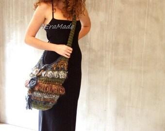Forest crochet fringes slouchy shoulder bag freeform boho style chunky bulky Bohemian clothing