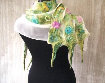 Pastel fashion nuno felt silk scarf long Turqouise floral feminine luxury merino Bohemian clothing