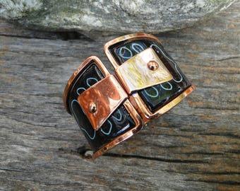 Matisse Reoir Copper and Enamel Hinged Cuff  Bracelet