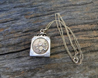 Antique Victorian Tri-Color Rose Gold Watch Fob Photo Locket Monogram Engraved with Original Glass Covers and Frames on 14kt Gold Chain