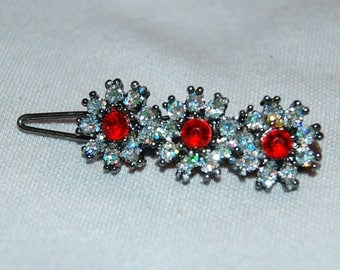 Barrette Hair Clip, Rhinestone Flower Barrette, Red Clear, Vintage old jewelry