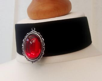 Ruby Red Jewel Choker in Black Velvet, Ruby Red Vintage Czech Glass, Black Velvet Ribbon. Blood Red, July Birthstone
