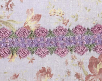 Hand Dyed Venise Lace Cabbage Rose  Vintage Easter  Pink n Purple