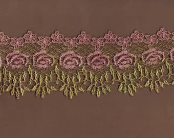 Hand Dyed Venise Lace Heirloom Bliss  Vintage Aged Rose