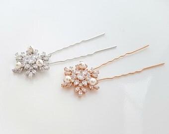 Rose Gold Hair Pins Snow Flake Crystal Wedding Hair pins Bridal Hair Accesories Wedding Hair Comb U Pins, Uma