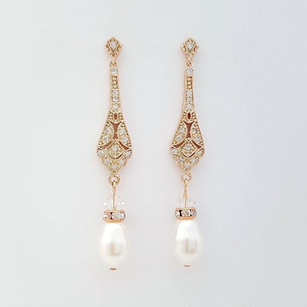 Vintage Style Earrings: Wedding Earrings Rose Gold Vintage Style Wedding Earrings