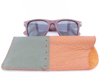 Leather Sunglass Case / Green and Orange Leather / One of a Kind / Eyeglass Case / No Lining