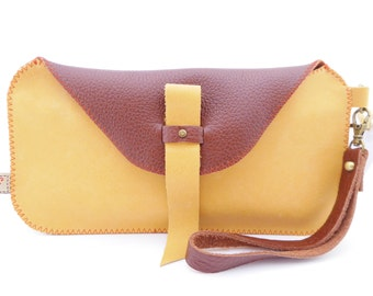 Leather Wristlet / Two Tone Leather Bag / Passport Pouch / Leather Wallet / Mustard and Burgundy Leather / Zippered Pocket