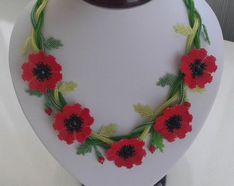 Poppy Flowers Beaded Necklace