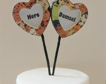 Superhero Damsel His and Hers Hearts Frame Cartoon Cake toppers