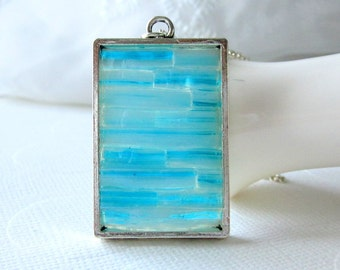 Stained Glass Mosaic Necklace Glass Art Jewelry Micro Mosaic Pendant Blue Marble Travel Jewelry Blue Minimal Pendant for Women