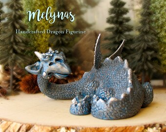 Melynas - The Enchanted Dragon Guardians of Soals Woods - Polymer Clay Handcrafted winged Dragon Sculpture  - Gold Faceted Crystal Eyes