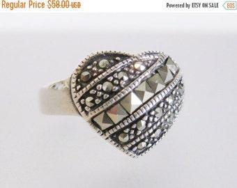 ON SALE Sparkling Vintage Sterling & Marcasite Heart Ring