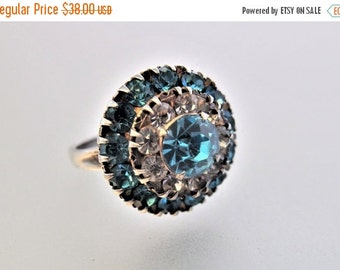 ON SALE Pretty Vintage Blue and Clear Glass Sterling Silver  Statement Ring