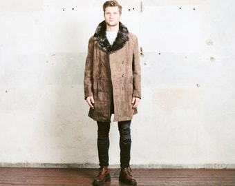 Men's Suede Sheepskin Coat . Mens Vintage 70s Sherpa Coat Winter SUEDE Leather Brown Faux Fur Overcoat Outerwear Jacket . size Large to XL