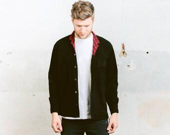 Mens CORDUROY Shirt . 90s Grunge Cord Long Sleeve Black Shirt Minimalist Unisex Boyfriend Gift for Him . size Medium M
