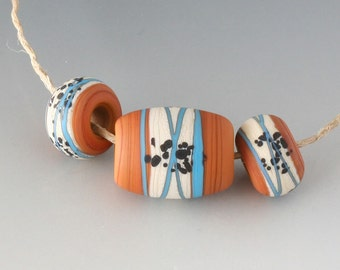 Southwest BHB 5mm Set - (3) Handmade Lampwork Beads - Cream, Terracotta, Turquoise - Etched, Matte
