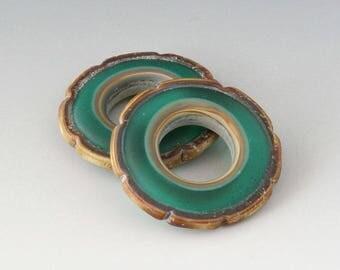 Rustic Ruffle Discs - (2) Handmade Lampwork Beads - Teal