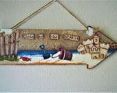 Hand Painted Nautical Wall Hanging       Sandcastle at the Beach      Reclaimed Wooden  Arrow   Surf and Sand