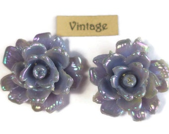 Vintage Flower Cabochon Purple AB Floral Shabby Rose Chic Flowers Pastel Romantic Cabs Old AB 1085B