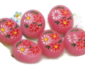 Vintage glass Cabochons,10/8mm,Pressed Glass cabochons, Pink cabochons,Floral Cabochons, Intaglios ,shabby chic,Cottage Chic #982