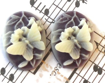 Vintage Cabochon Butterfly Oval Cameo Flowers Amethyst 25x18mm Raised NOS. #741