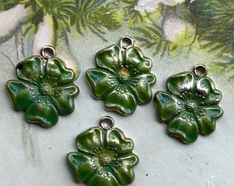 Green Vintage flower Charms,Enamel Flower charms,flower Drops,Blue flower charms,enameled flowers, Rose Charms, Drops Dangles #1604M