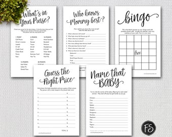 Printable Script  Baby Shower Games Package, Printable Black and White Shower Games Digital Files, Instant Download, 1234