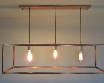Industrial Copper Cage Bare Exposed Bulb Chandelier - Customize for Vaulted Ceiling