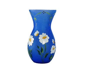 Hand-Painted Crackle Glass Vase with Cheery Daisies, Dotted Border - Ready to Ship Mother's Day Gifts Under 30 dollars