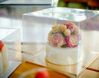 5 Clear cake boxes with handle