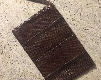 50s Brown Snakeskin Clutch • Rare Piece •