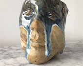 Face Cup Sculpture Head Vessel, Figure Art Bust of a Woman Crying Marbled Stoneware Pottery Blue Drips Glaze Tears Sad Grief Mug