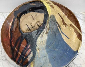 Large Bowl, Goddess Art Wall Sculpture Bas Relief Serving Vessel, Original Glaze Painting