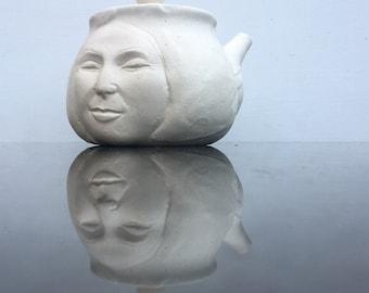 Face Teapot Kyusu Sculpture Pottery Head Side Handle Matte White Insight
