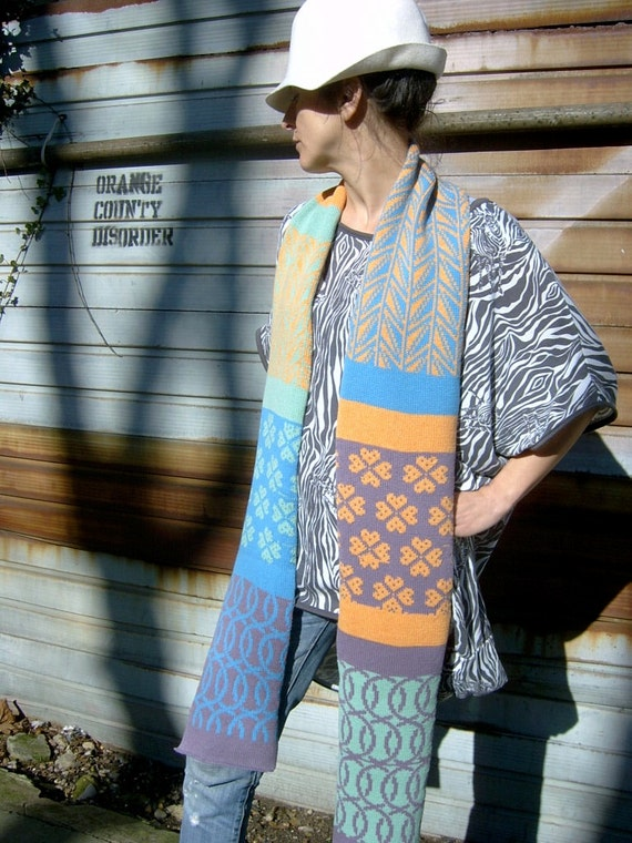 Fashion Scarf Multicolor Knitted Wool- Lolly by Knit Mystique