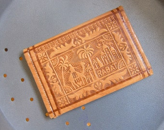 Clutch Wallet Moroccan Souvenir of Rabat Rich Soft Hand Tooled Camel Leather Exotic Motif Wonderful Condition