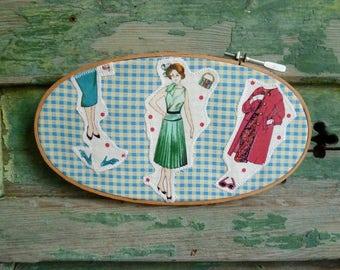 Fashion Girl Applique Wall Decor, Original Handmade Hoop Art