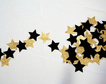 Black and Gold Glitter Garland Perfect for Christmas, New Years Eve, Anniversary, Graduation, Photo Prop, Baby Shower, Birthday Party, Etc!