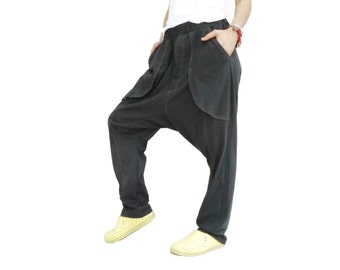 Unisex Funky Ninja Harem Dark Charcoal Cotton Jersey Drop Crotch Pants With 2 Pockets & Contrast Stitch