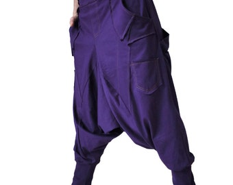 Men Women Funky Ninja Harem Purple Cotton Jersey Drop Crotch Pants With 6 Pockets